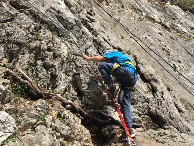 child-friendly via ferrata in the Dolomites, Italy family summer holiday in the mountains