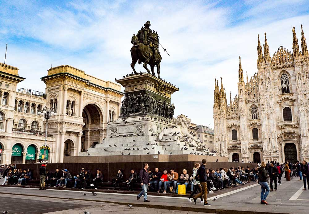 Monument of king on horseback in front of cathedral of Milan, Piazza del Duomo, Milan