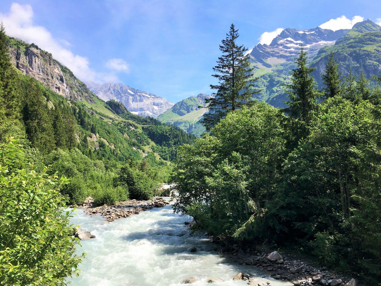 Chärstelenbach river, Glarus Alps, hiking with kids in Switzerland