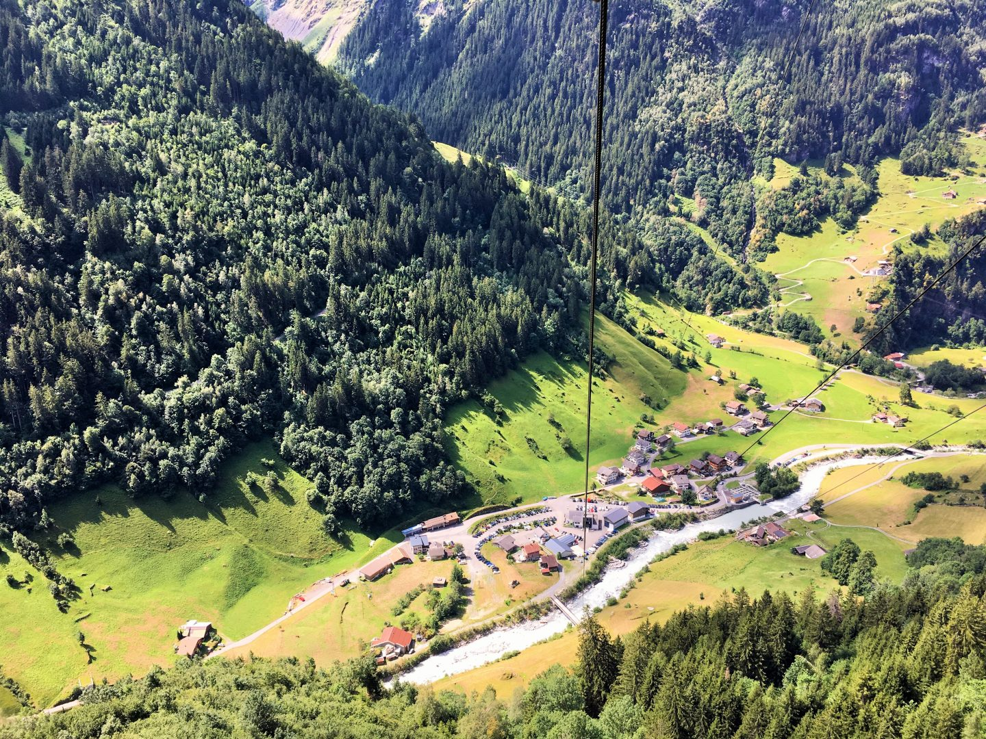view from Bristen cable car, Swiss Alps, hiking with kids in Switzerland