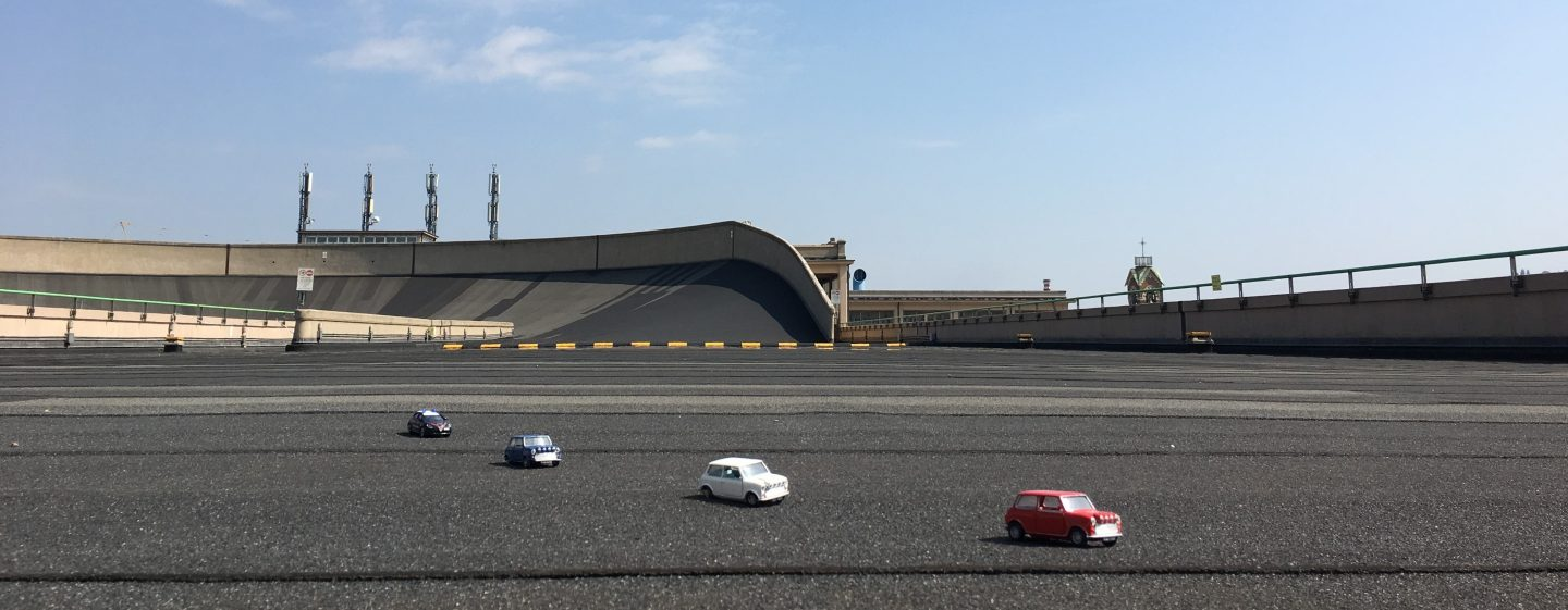 Recreating the Italian Job with Minis on the Lingotto rooftop test track in Turin with kids