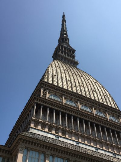 The spire of the Museum of Cinema in Mole Antonelliana, Turin Italy