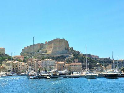 Clifftop citadel of Bonifacio, overlooking the harbour, Corsica