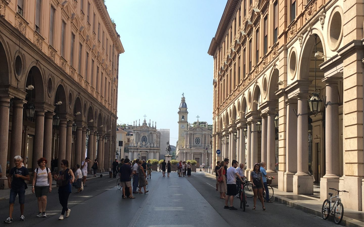 Pedestrianised street in family friendly Turin Italy