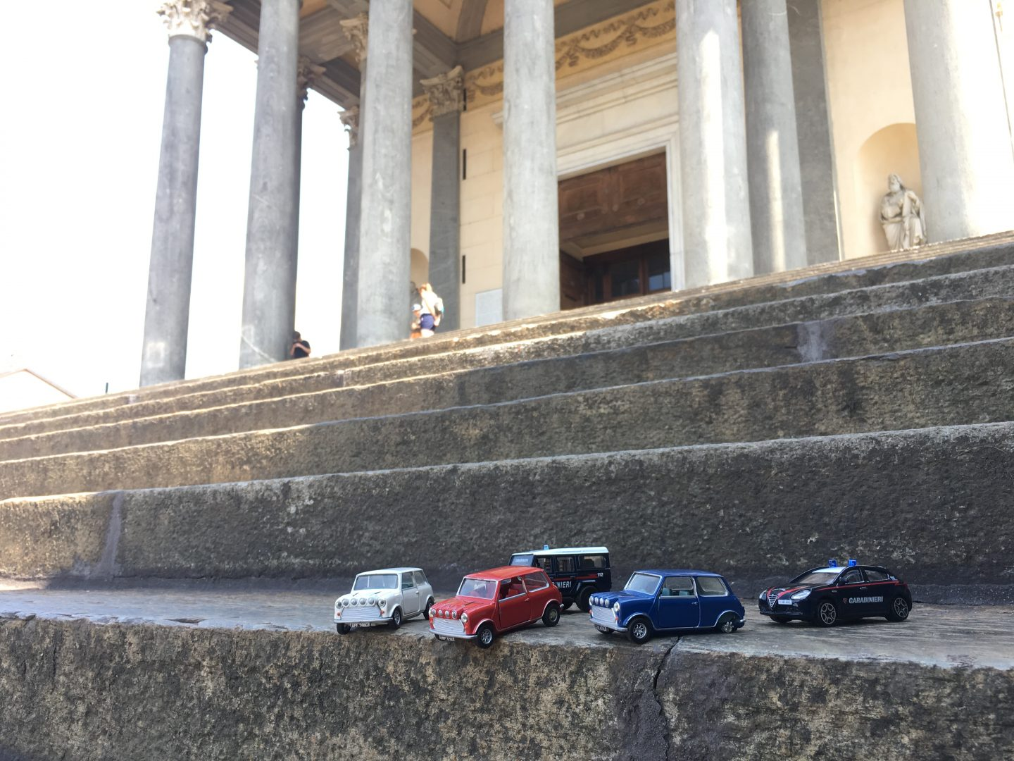 Minis on the steps of the Chiesa Gran Madre di Dio, Turin, Italy
