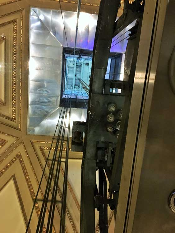 The view of the elevator inside the spire of Mole Antonelliana, Turin Italy