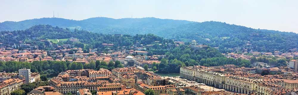 View from Mole Antonelliana towards Piazza Vittorio Veneto and the Chiesa Gran Madre di Dio, Turin Italy