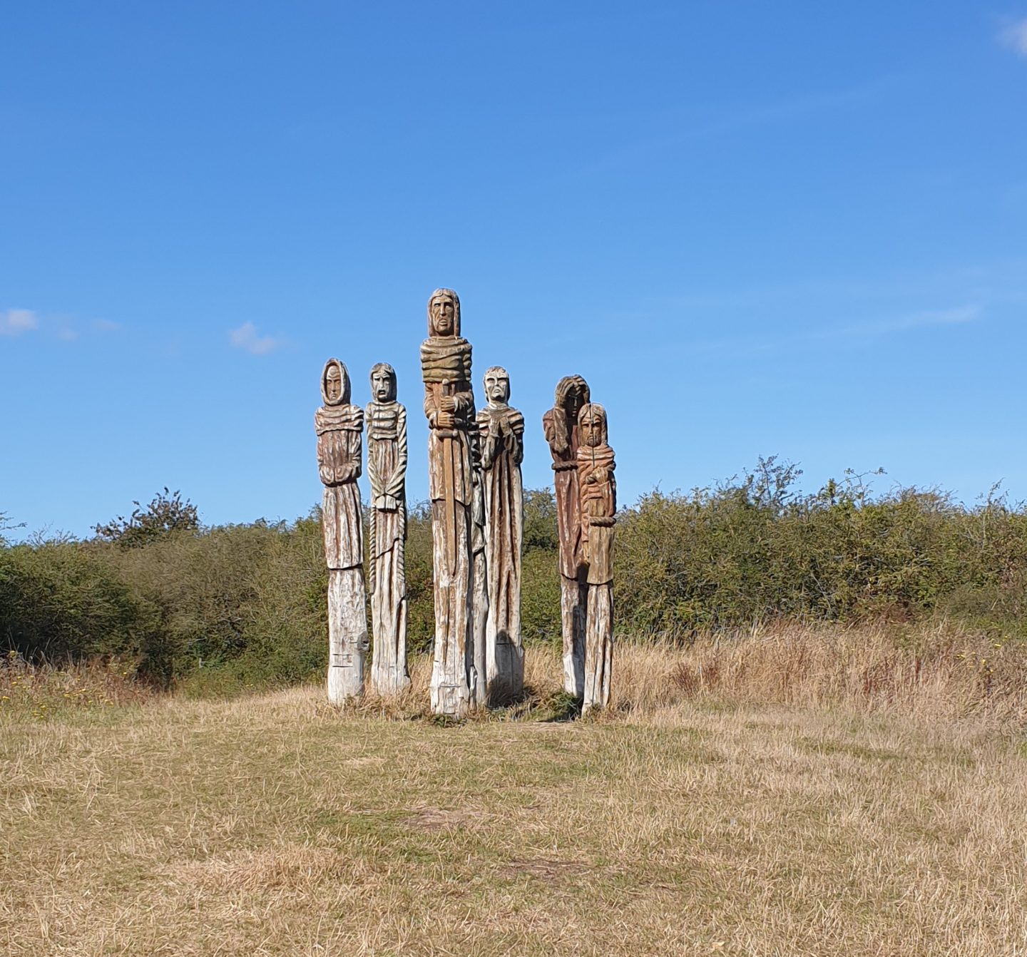 Wooden sculptures at Wat Tyler Country Park in Essex