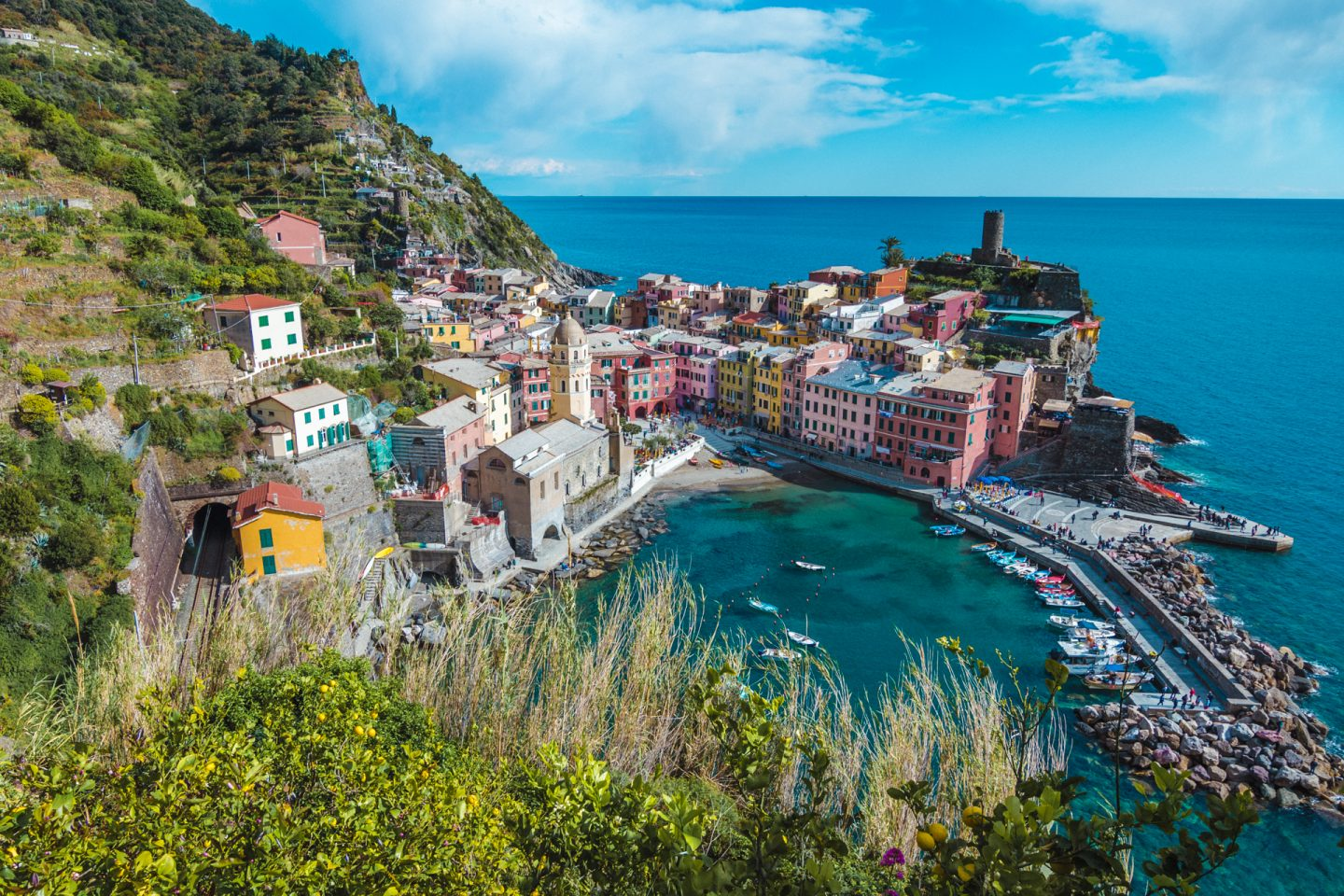 Vernazza, village by the sea in Italy, Cinque Terre, Italy family walking holidays