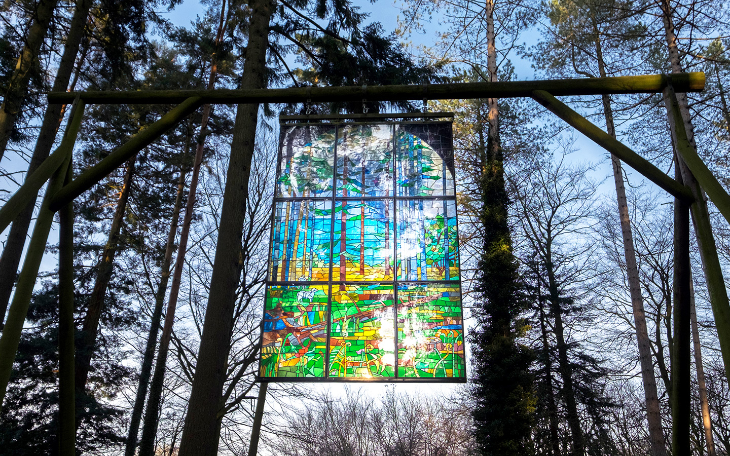 Stained glass window at the Forest of Dean Sculpture Trail