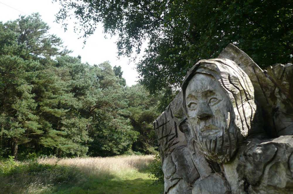 wooden sculpture at Otley Chevin Geology Sculpture Trail