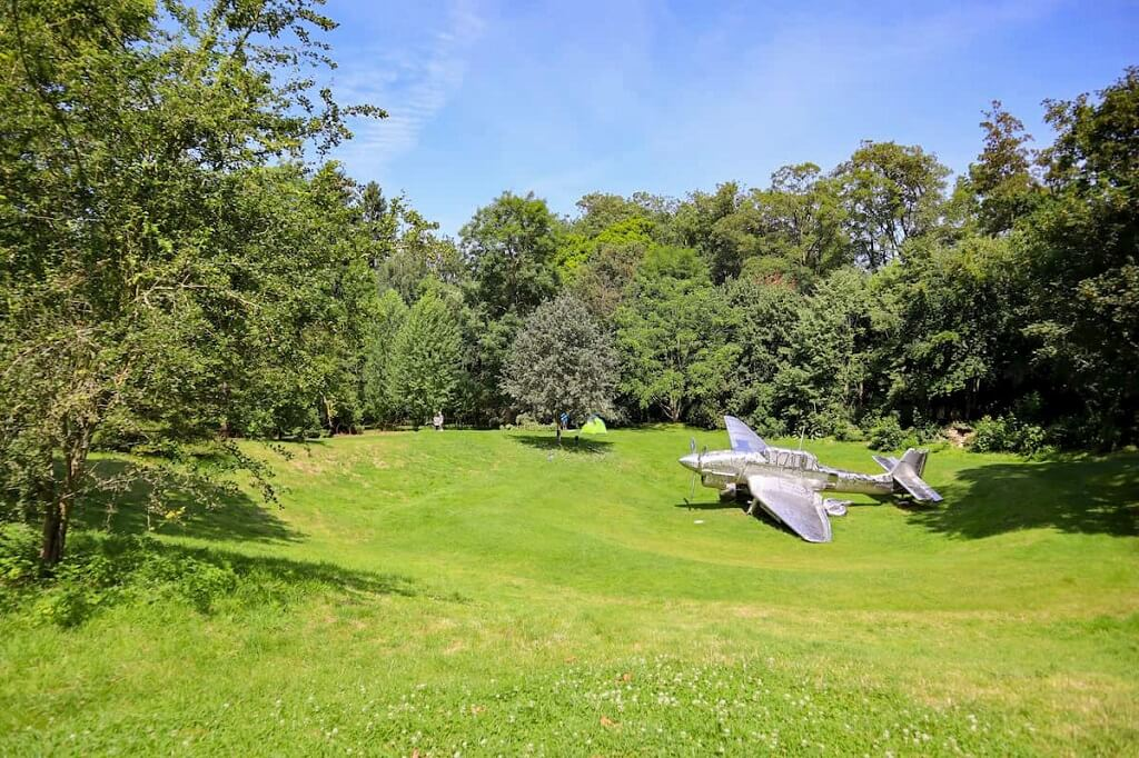 aeroplane sculpture on grass at Burghley House