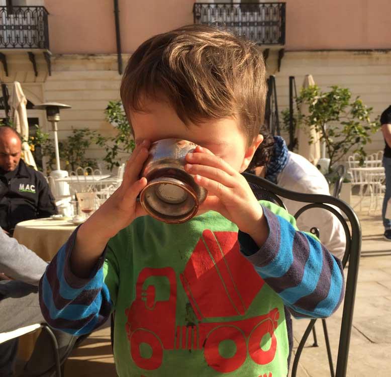 child eating ice cream in Sicily