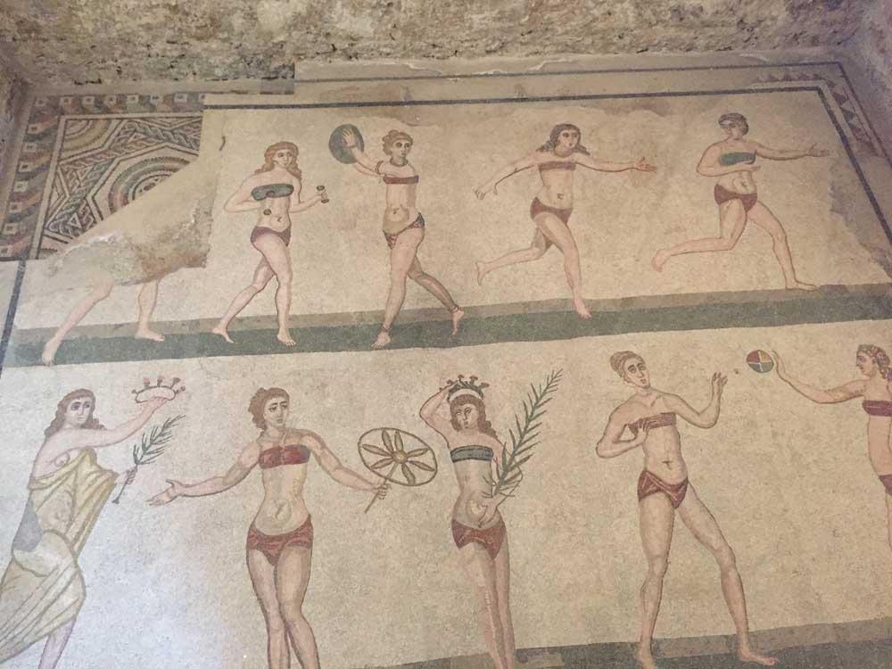 Romans sports preserved in mosaics at Villa Romana del Casale in Sicily