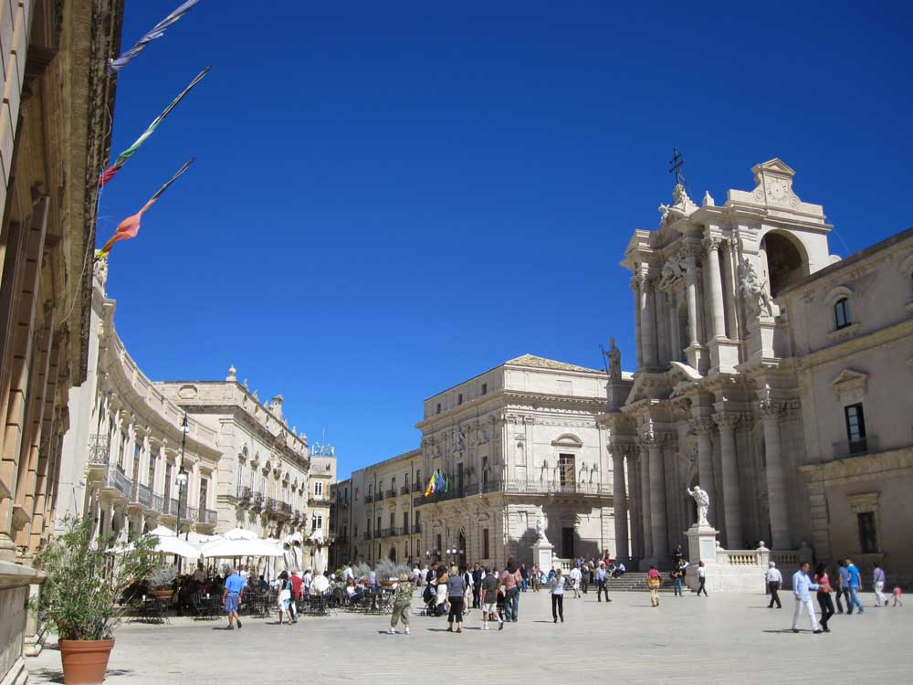 Italian square Piazza duomo in Syracuse Sicily with kids