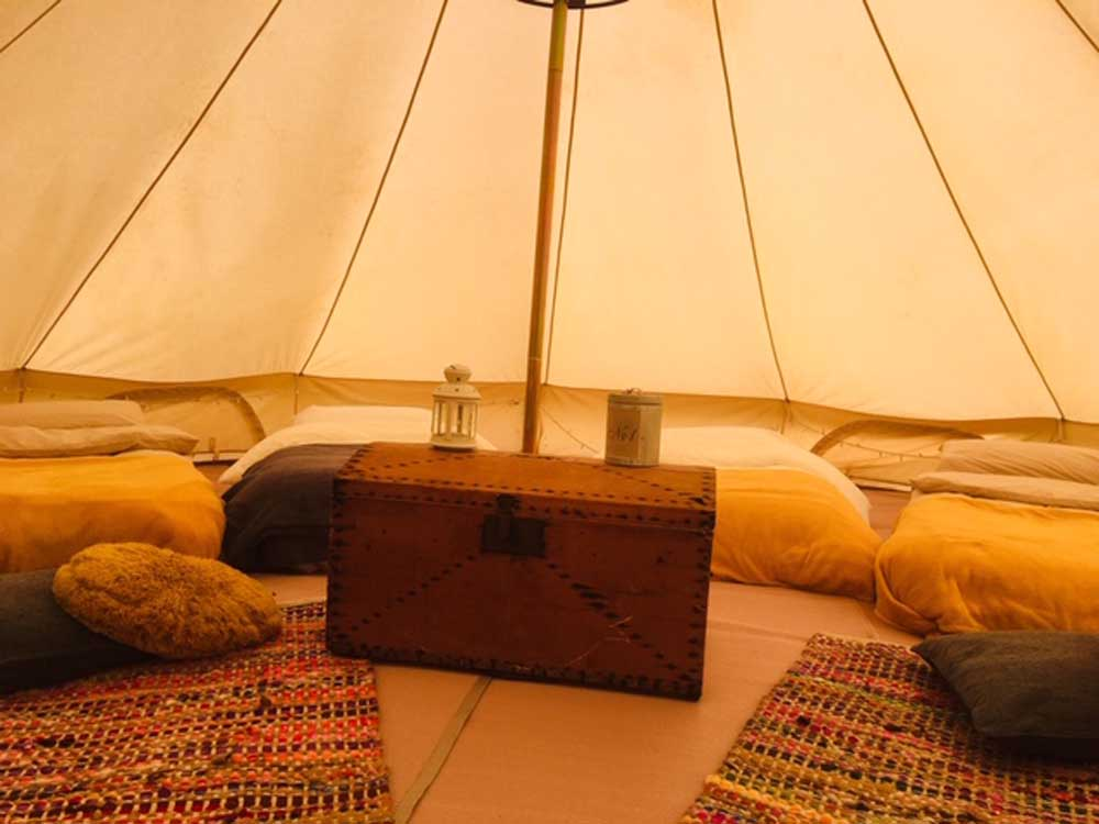 bell tent glamping with kids in Somerset