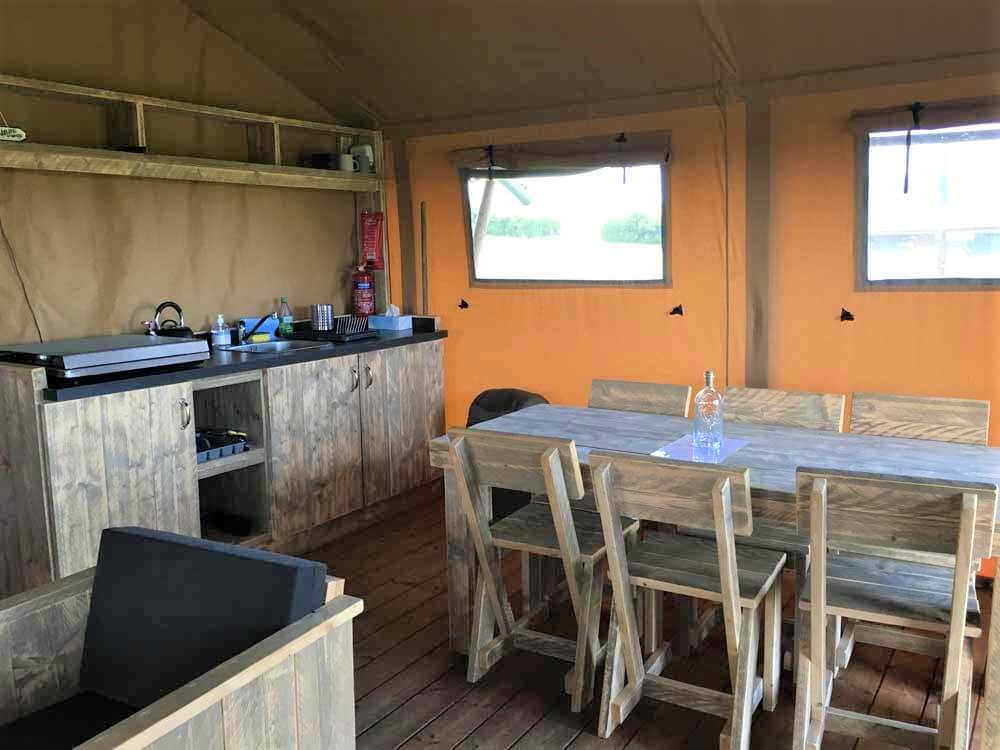 Kitchen of a luxury safari glamping tent
