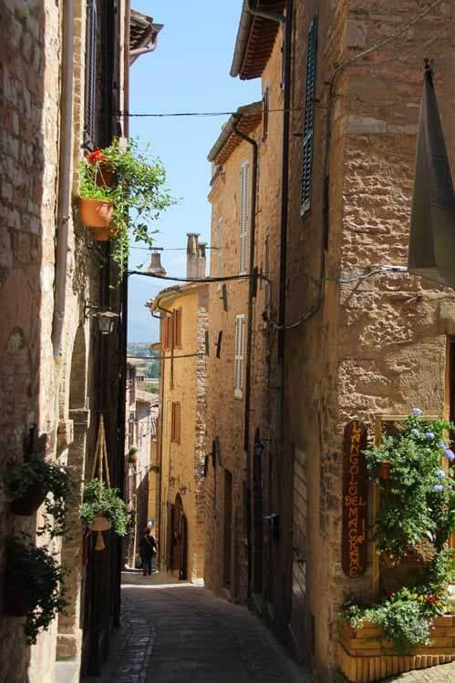 Alleyway in Italian village of Spello in Umbria