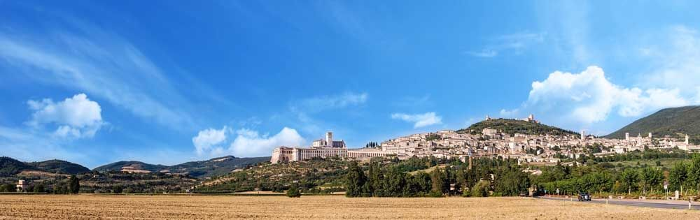 View towards Assisi in Umbria Italy