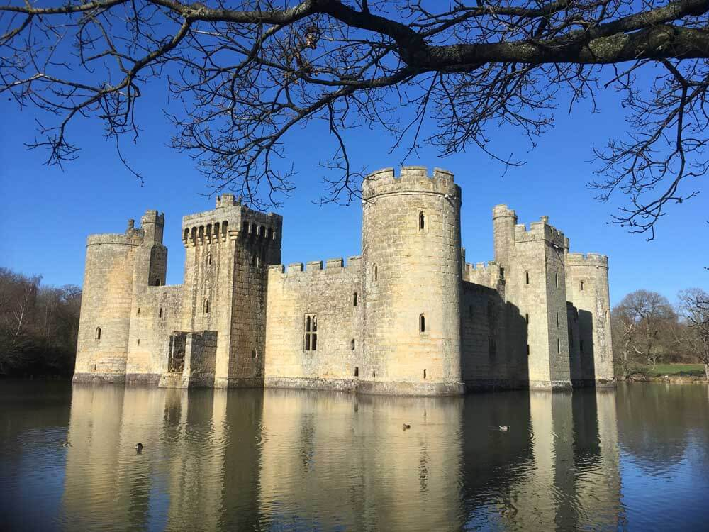 Bodiam Castle surrounded by moat East Sussex National Trust