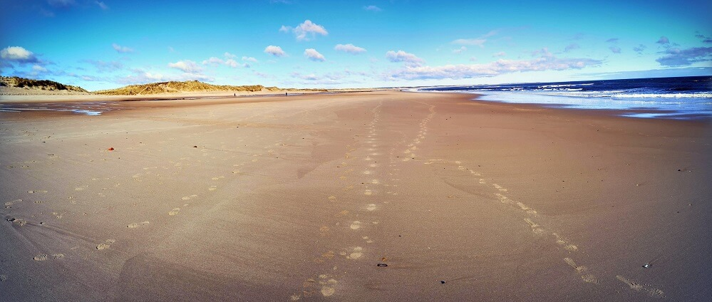 long sandy beach in Northumberland