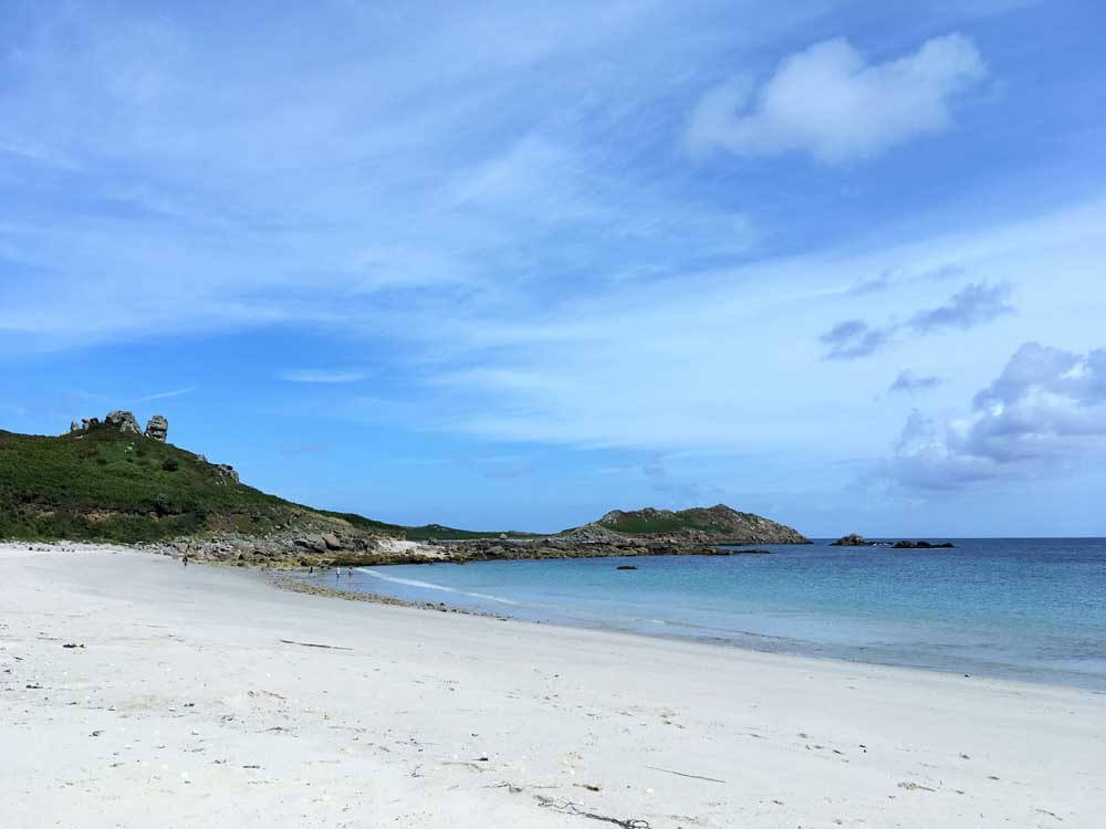 Empty sandy beach Isles of Scilly off the beaten track family holiday in Europe