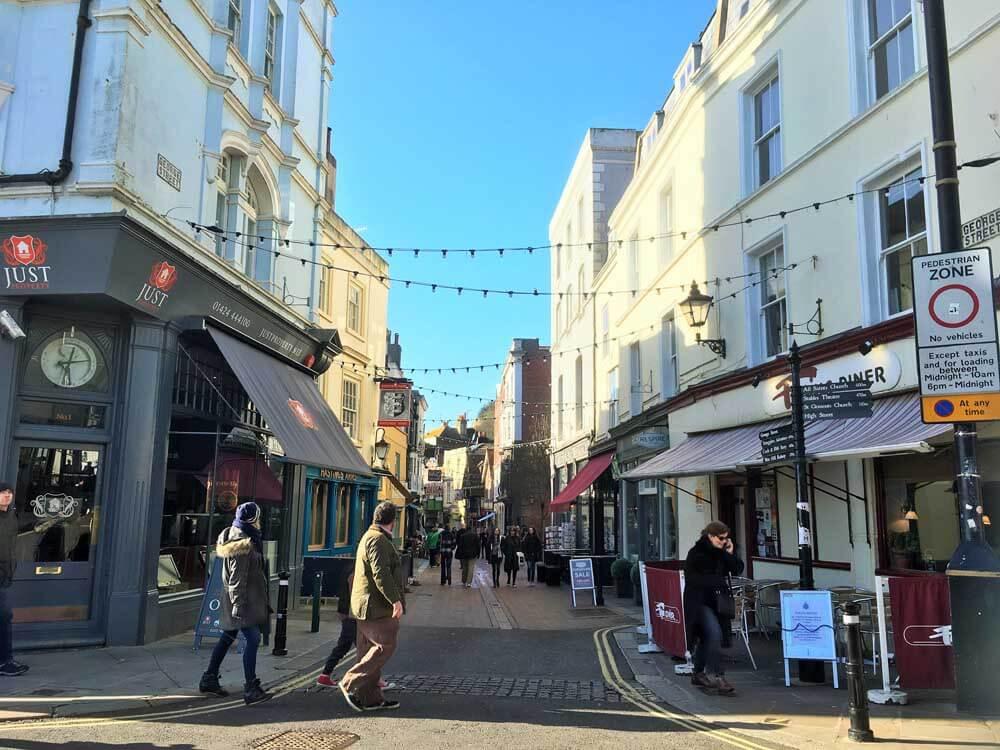 Pedestrian shopping street in Hastings East Sussex