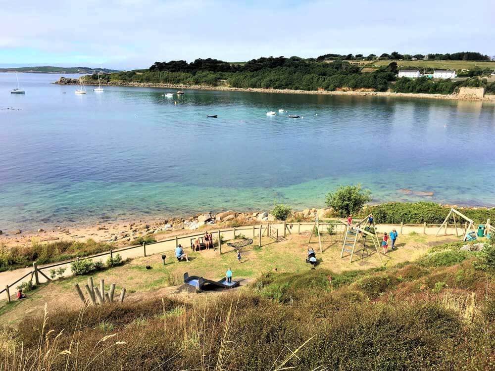 children's play area next to the beach at Porthcressa, Scilly Isles