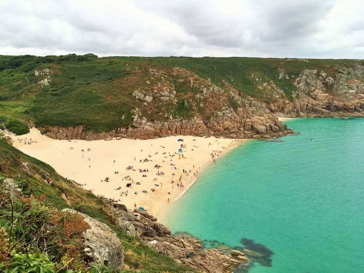 View of Porthcurno beach near the Minack Theatre in Cornwall