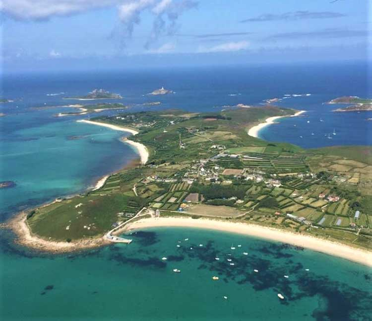 UK beach break Isles of Scilly from the air