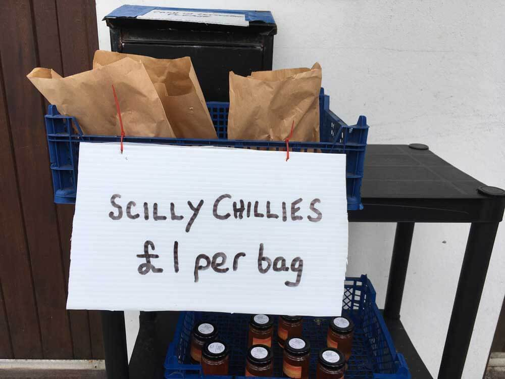 Packets of chillies for sale on the Scilly Isles