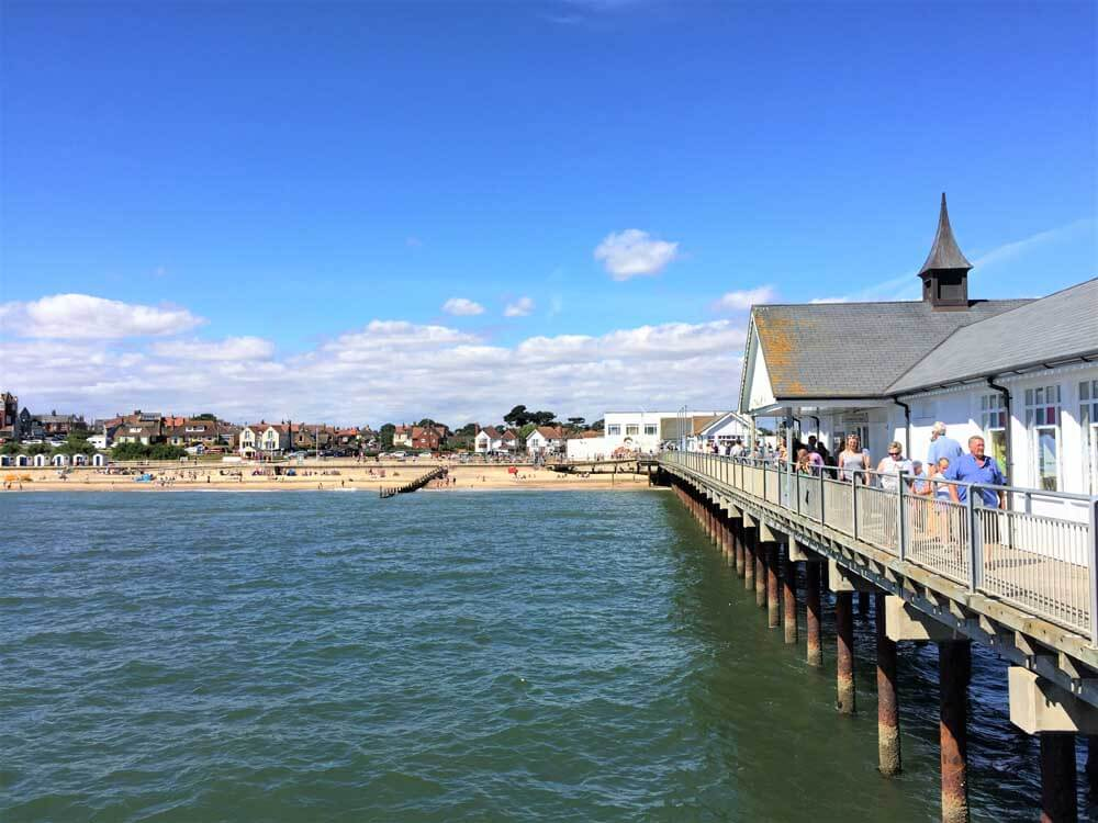 UK seaside holiday at Southwold Pier Suffolk