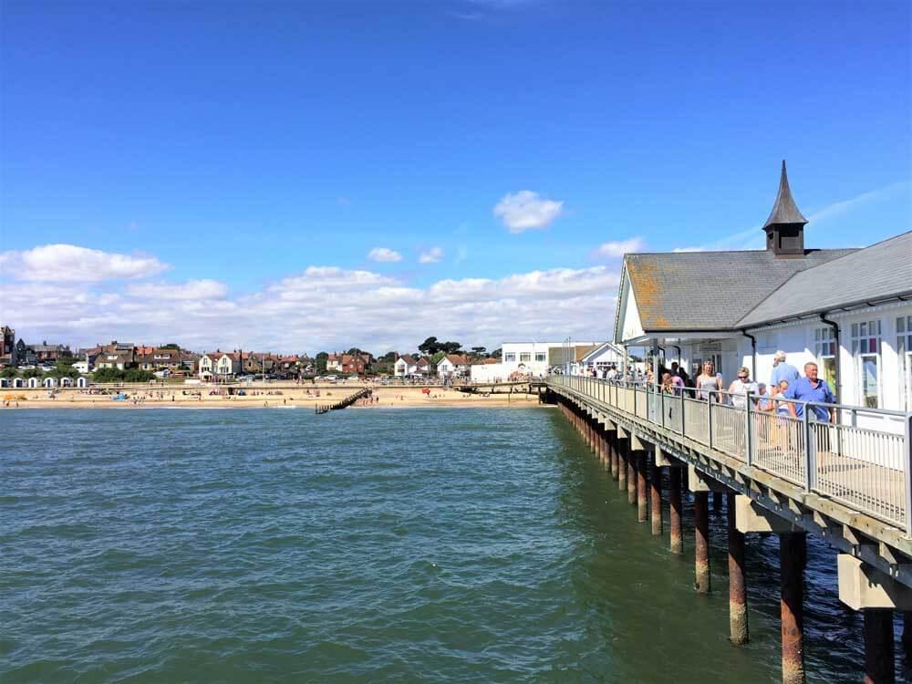 UK seaside holiday at Southwold Pier Suffolk