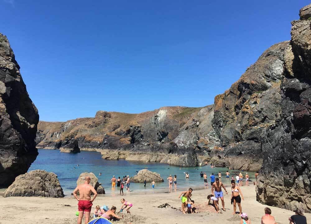 UK beach holiday at Kynance Cove in Cornwall