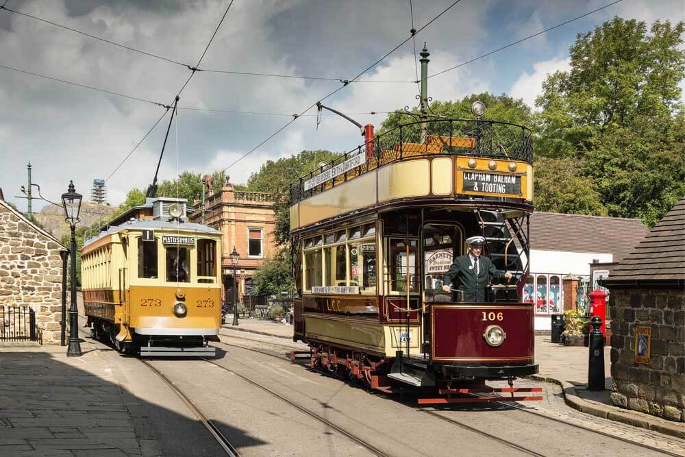 Trams at Crich Tramway Village UK open air museum
