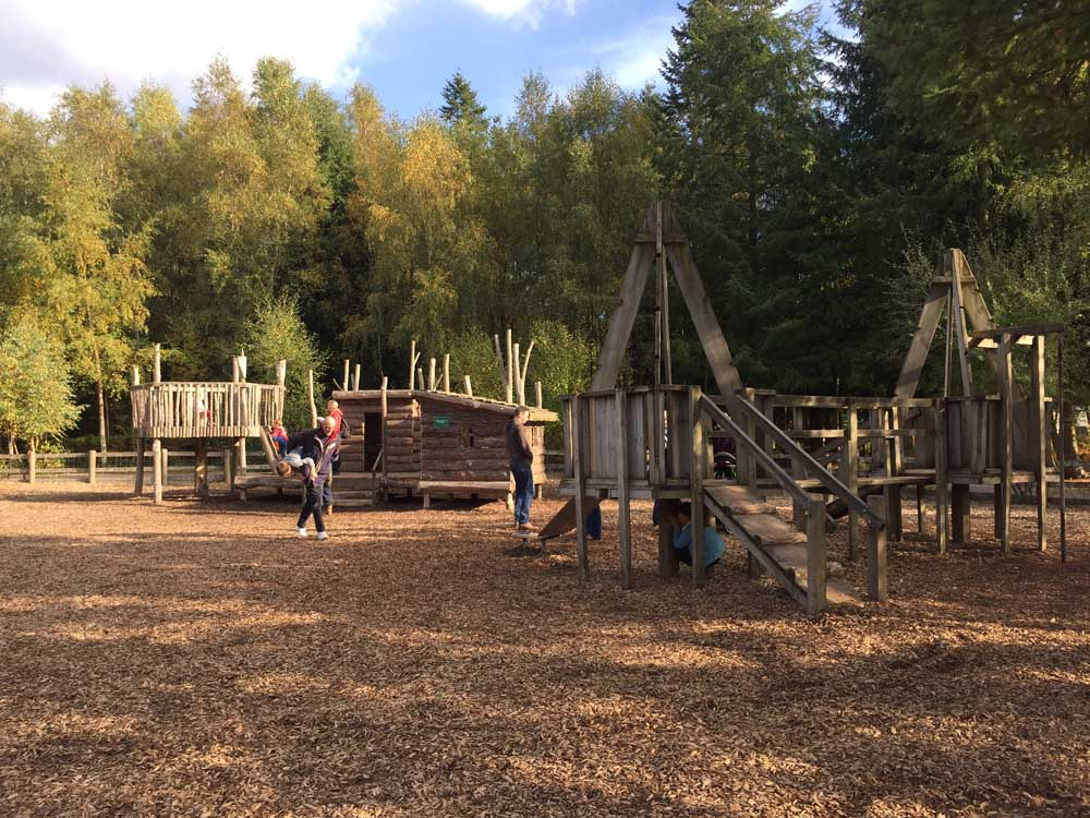 wooden play area in woodland at Alice Holt