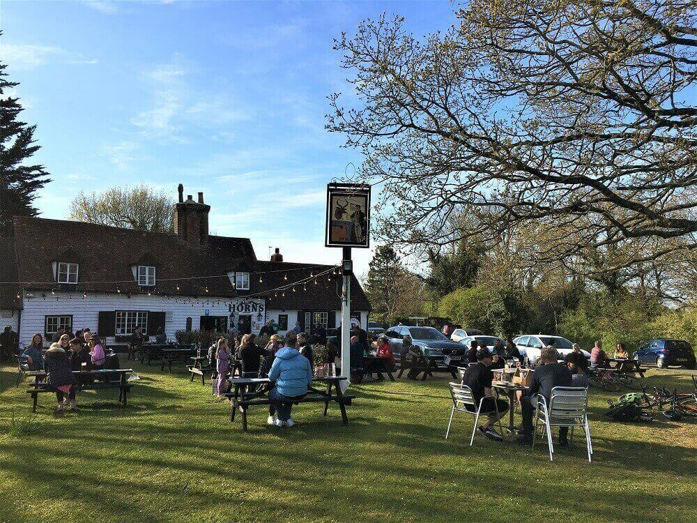People sitting in pub garden