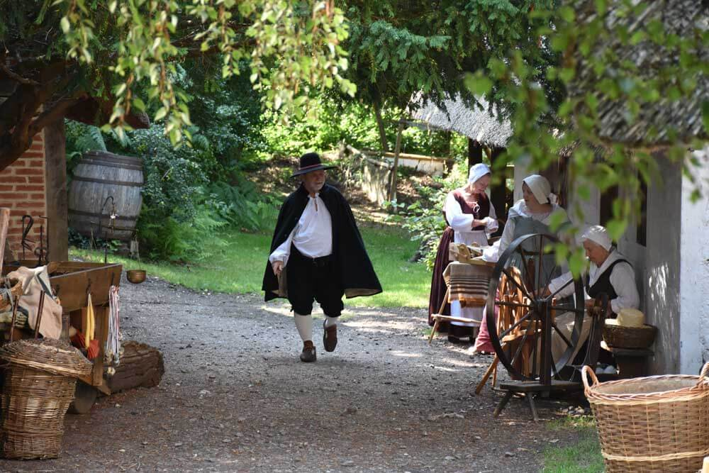 living museum characters at Little Woodham living hisotry village in hampshire