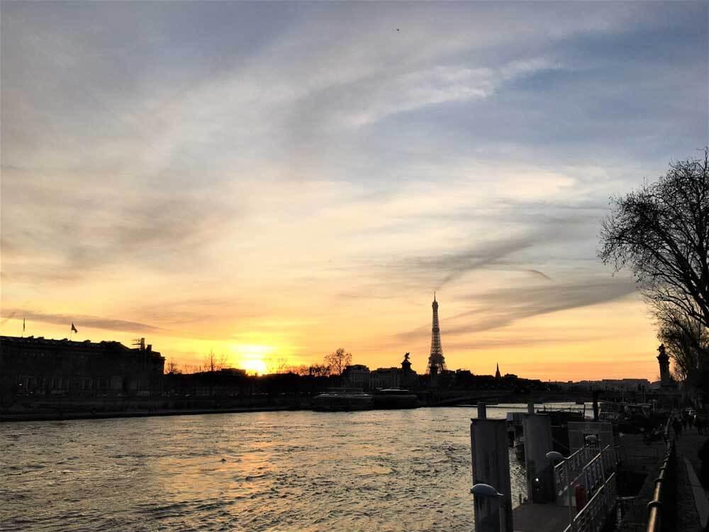River Seine in Paris in winter with kids