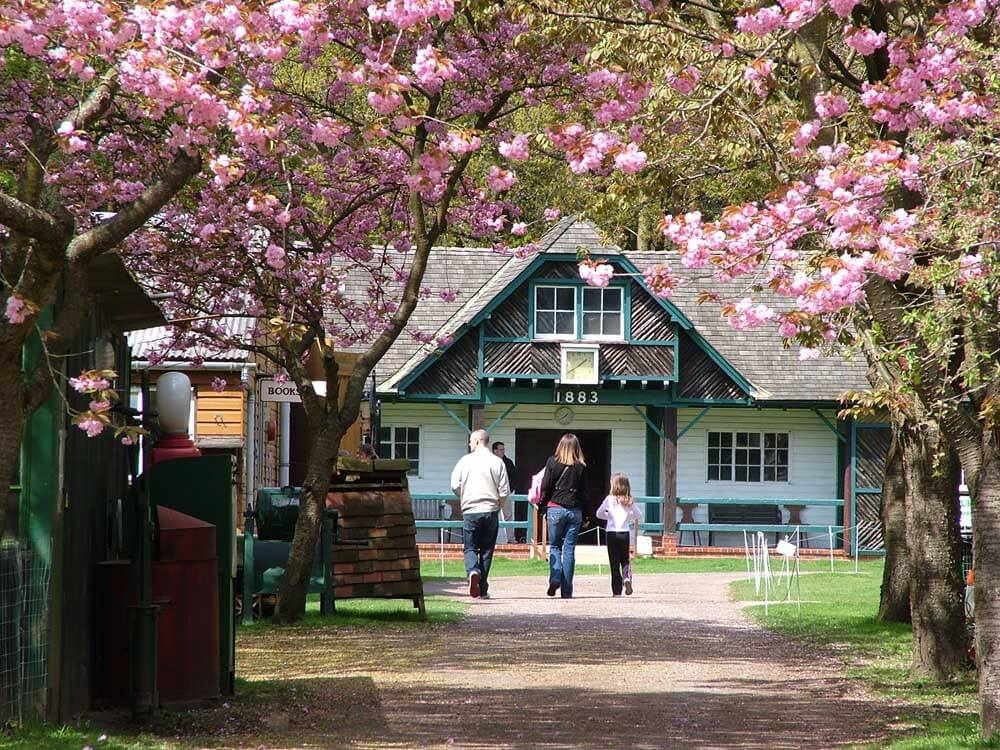 historic building surrounded by blossom at Rural Life Living Museum in Surrey