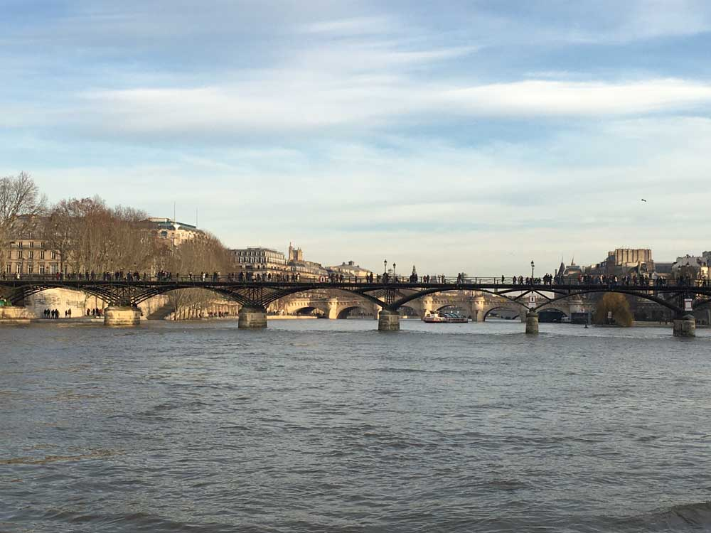 View of the River Seine in Paris in winter with kids