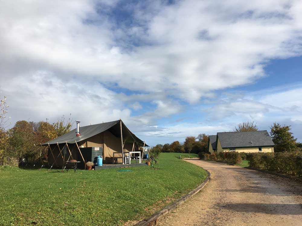 family glamping tent in Hampshire