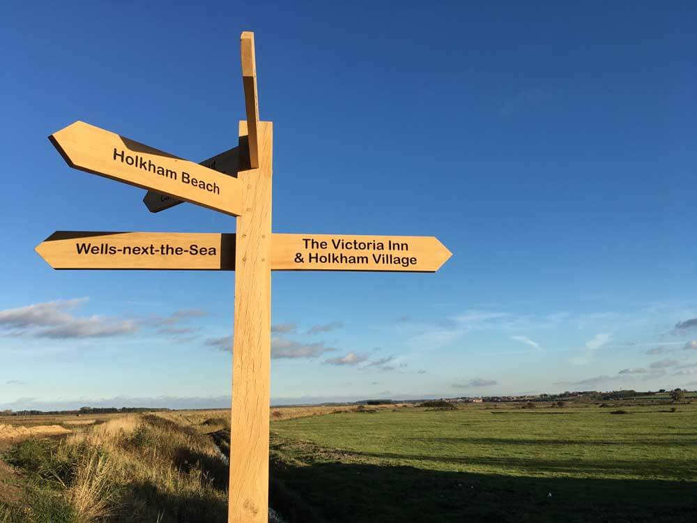 Signposts at Holkham Nature Reserve in North Norfolk at October half term