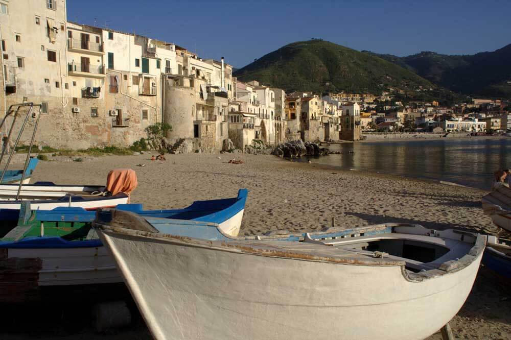boats on the beach at Cefalu in Sicily