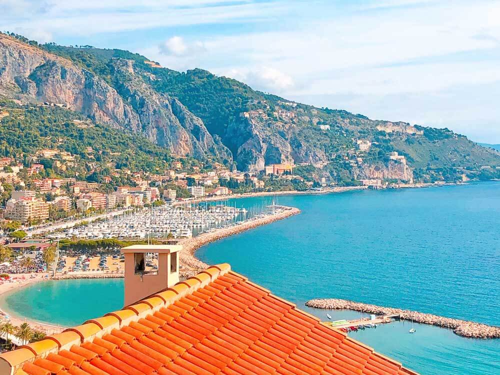 View from orange roof of coastal town of Menton in France