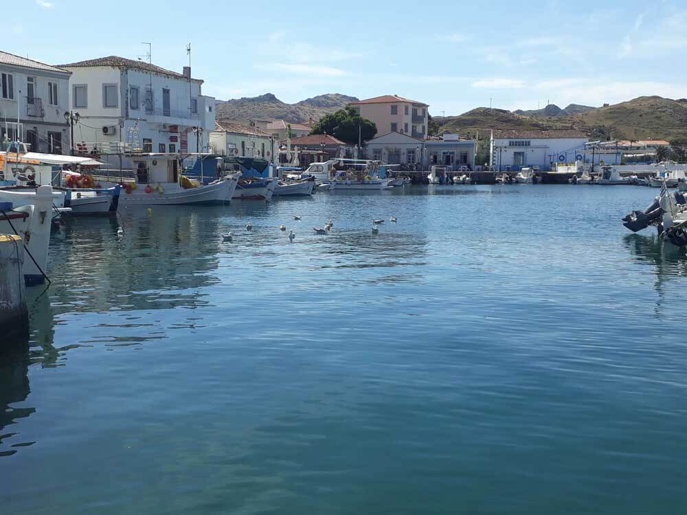 The harbour of Myrina on the island of Lemnos Greece