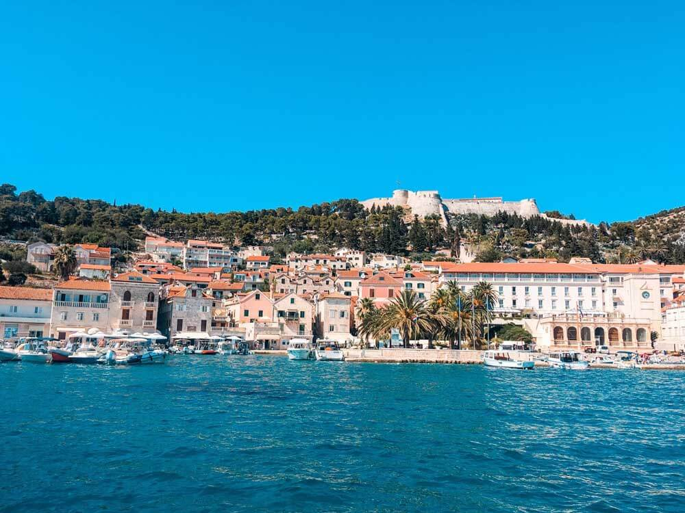 View from the sea of Hvar harbour in Croatia