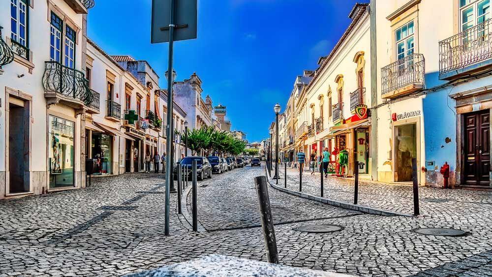 Cobblestone street in Tavira Portugal