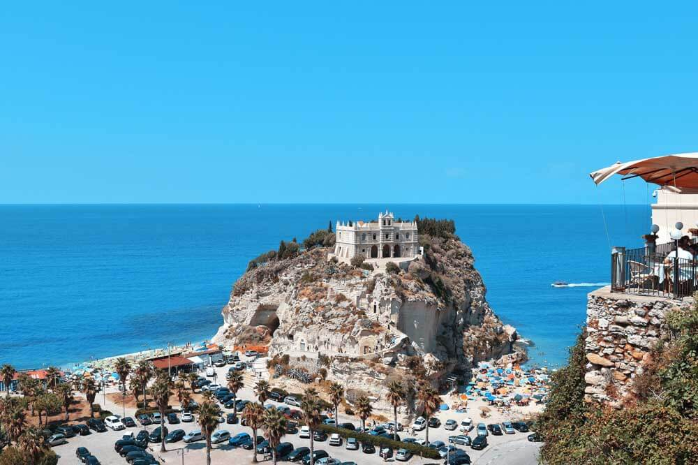 Church on rocky island at Tropea in Italy