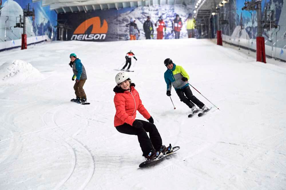 Children snowboarding at the Snow Centre in Hemel Hempstead, Places to visit in Hertfordshire